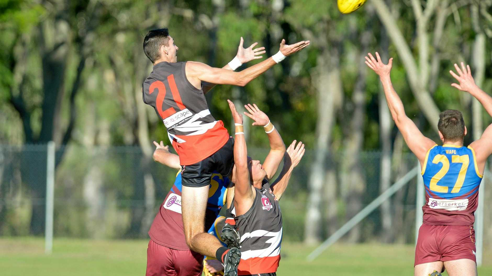 The Saints Ky Hull flies high.AFL BITS Saints vs Glenmore A grade.