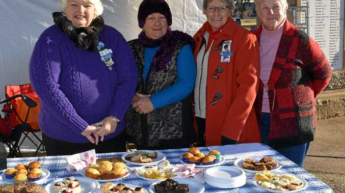 (From left) QCWA border division treasurer Sandy Styles, Condamine Valley Warwick president Michele Slater, border division president Margaret Grayson and volunteer Barbara Donovan at Leslie Park for the Today Show live broadcast.