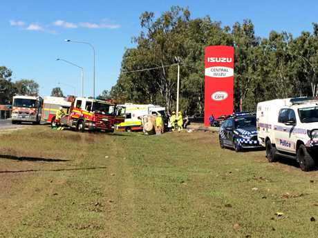 Emergency crews were on scene at a crash off Yaamba Rd where a car rolled, trapping  woman on Friday afternoon.