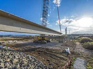 WATCH: Huge girder installed on new $48 million bridge