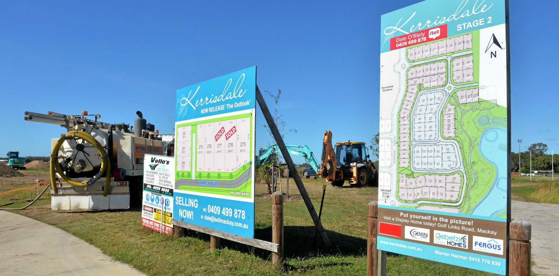 Building approvals in Mackay are up 102 per cent on last year, with construction going on in Kerrisdale estate.