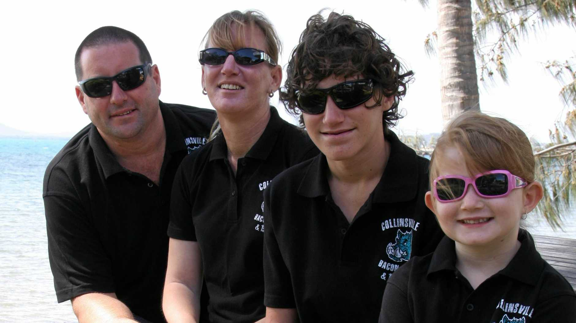 TRAGIC LOSS: After Ty Robinson (pictured second from right) took his own life and his family waited 22 minutes before a paramedic arrived, his mum Jocelyn Cole (second from left), has taken up the fight to secure more emergency services in Collinsville.