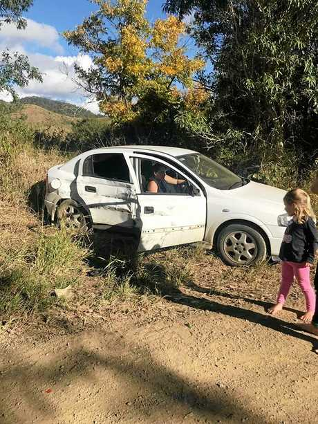 CLOSE CALL: Elle Hutchison and Rikki Bugg-Tau were lucky to escape more serious injuries after an accident on Rossmore Rd, Kilkivan on May 27, 2018. Elle's daughter is the little girl pictured in the foreground of this photo.