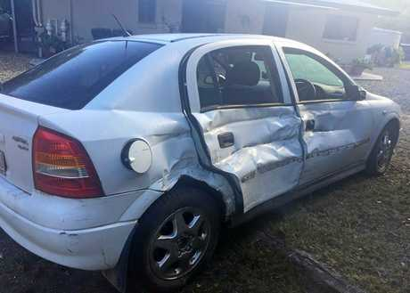 Damage to the Holden Astra Elle Hutchison was driving on Rossmore Rd near Kilkivan on May 27, 2018.