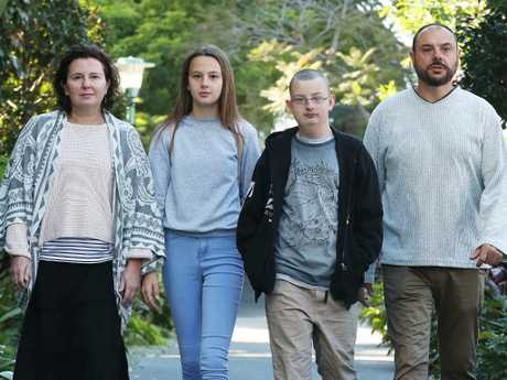 Sally Pougeard-Dulimbert and husband Remi (right), with son Thomas, 16, and daughter Lillah, 14. The family have to travel to Brisbane from far north Queensland regularly for Thomas' treatment of Wolf Hirschhorn Syndrome. Picture: Liam Kidston