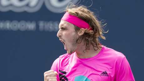 Tsitsipas celebrates a win. (Frank Gunn/The Canadian Press via AP)