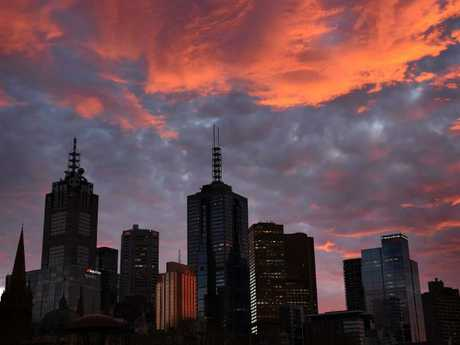This morning's sunrise over Melbourne. Picture: Nicole Garmston