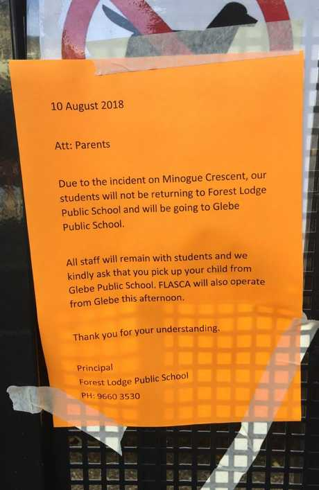 Notice to parents at Forest Lodge Public School. Picture: Derrick Krusche