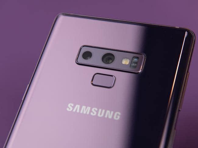 The Samsung Galaxy Note 9 moves the fingerprint sensor beneath the camera lenses. Picture: Jennifer Dudley-Nicholson