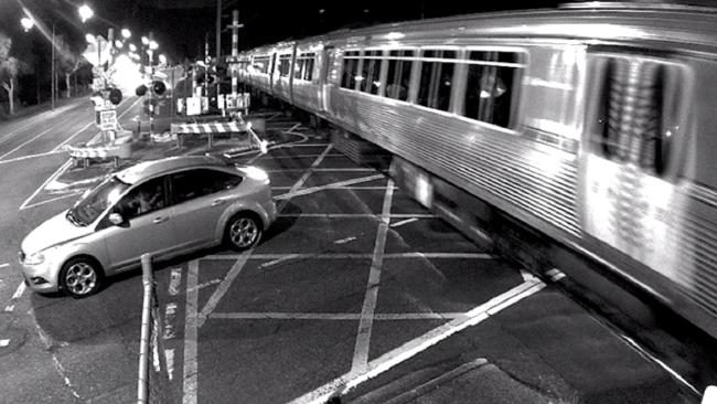 A level crossing near miss at Runcorn this year. Picture: Queensland Rail