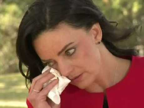 Emma Husar breaks down while revealing her decision to quit politics. Picture: Nine News