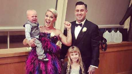 An Instagram post from Pink before the Grammys - she's pictured with her husband Carey Hart, daughter Willow and son Jameson.
