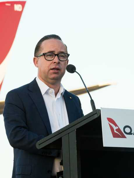 Qantas CEO Alan Joyce speaks at the launch of the new Dreamliner in Alice Springs on 2 February 2018. Photo: EMMA MURRAY