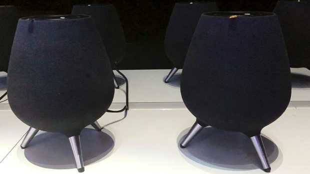 Samsung's new voice-assisted speaker, the Galaxy Home, is displayed during a product event in New York. Picture: AP.
