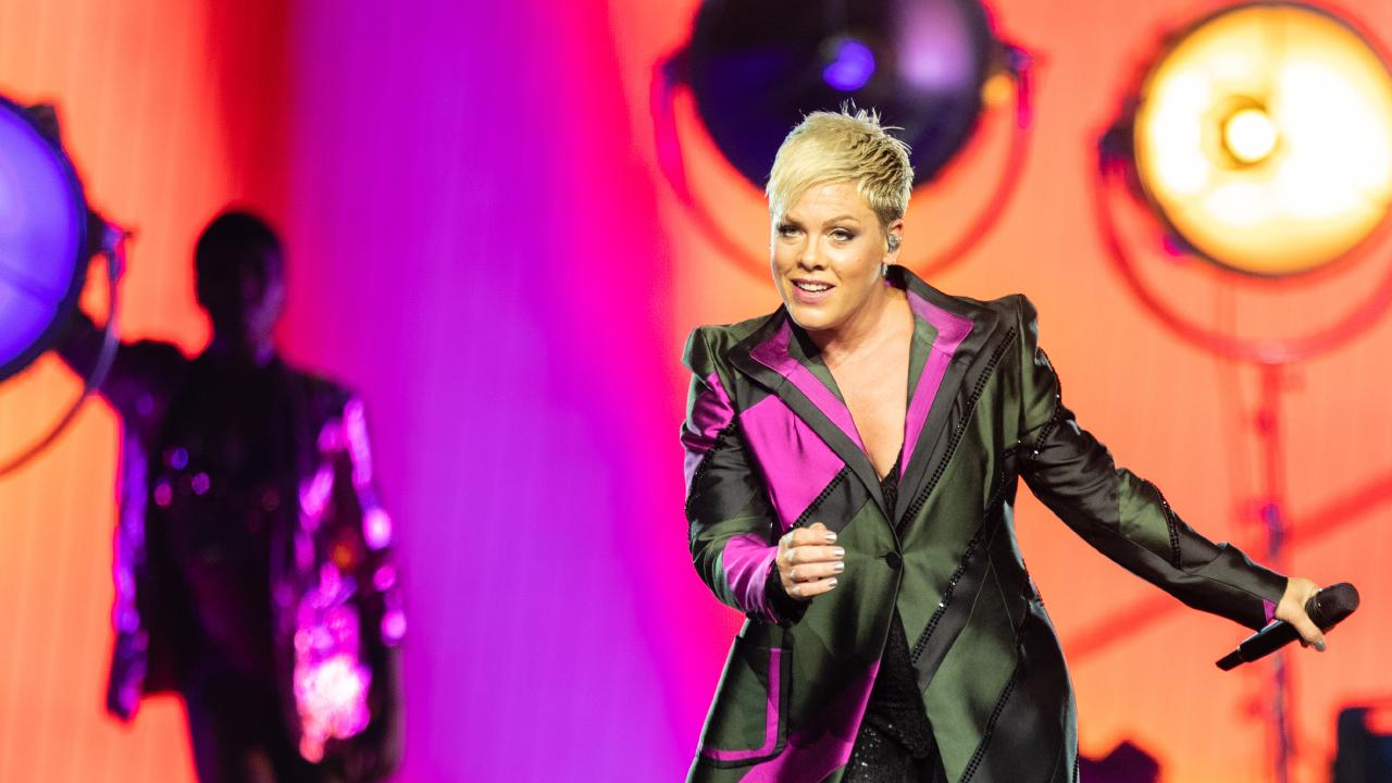Pink, seen here on stage in Perth during her first Australian show of the Beautiful Trauma world tour, will perform in Brisbane for seven shows next week. Picture: Richard Wainwright/AAP