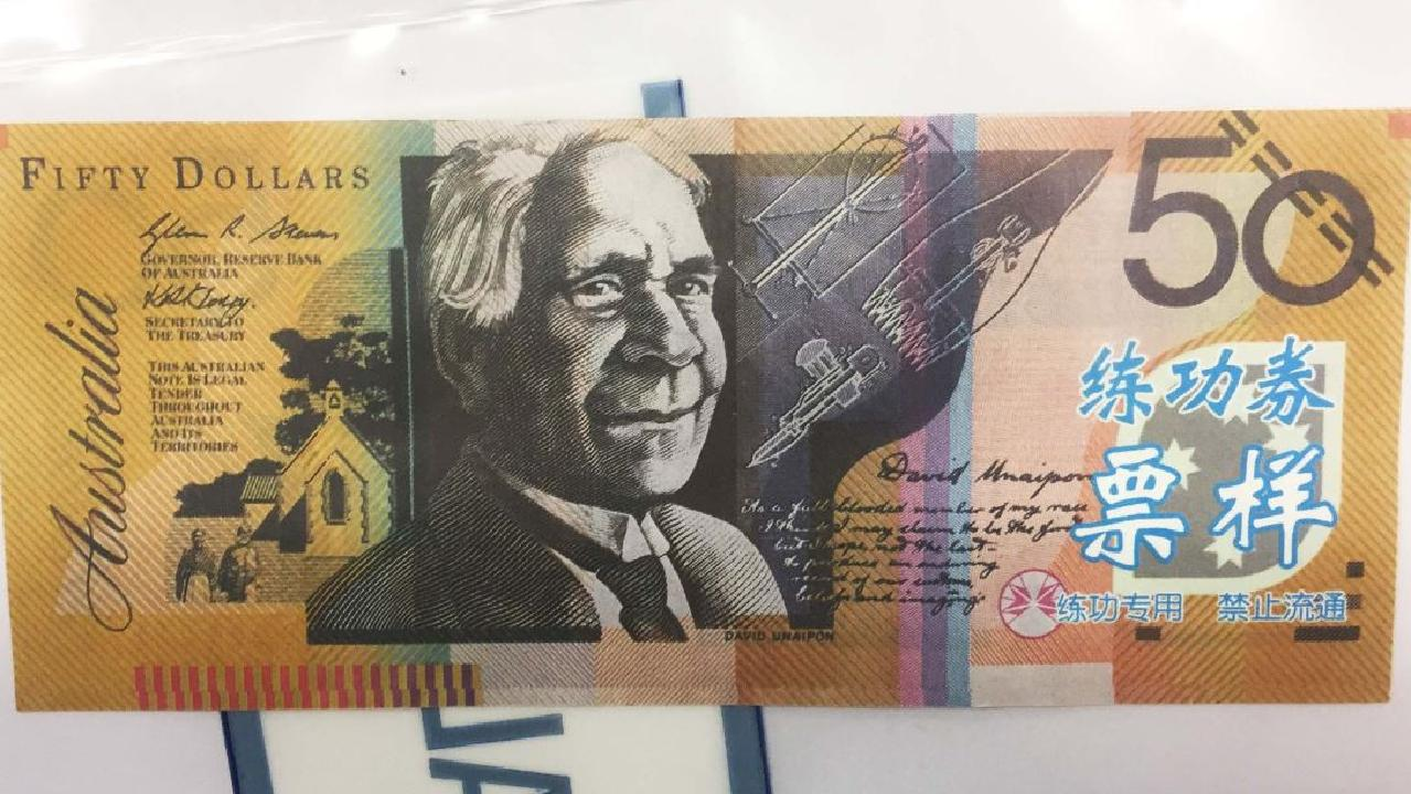 The fake $50 notes have Chinese symbols on them. Picture: ACT Police