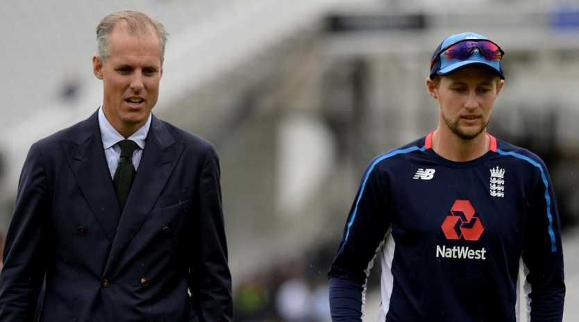 National selector Ed Smith speaks to England captain Joe Root on day one of the second Test at Lord's. Pic ture:  Gareth Copley/Getty Images