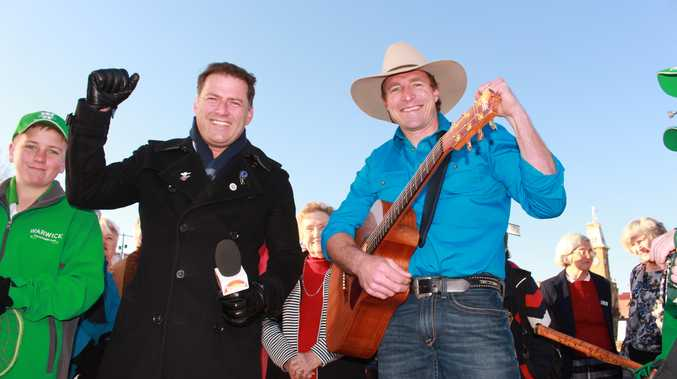 ON LOCATION: Karl Stefanovic (left) and Josh Arnold broadcast live from Warwick.