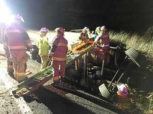 Man injured after truck rolls on Cunningham Highway