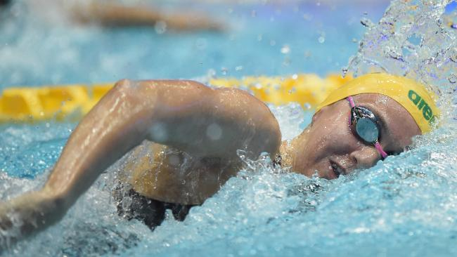 Ariarne Titmus competes in the women's 400m freestyle final at the Pan Pacific Swimming Championships in Tokyo. Picture: AAP