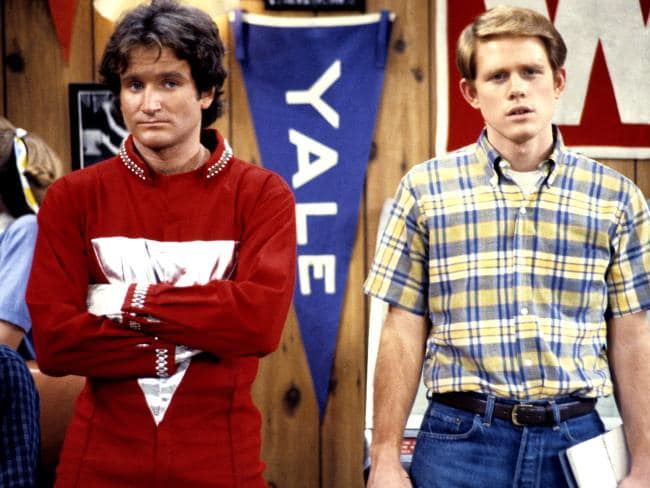 Williams' (L) character Mork from Ork earned him the spin-off series Mork & Mindy.