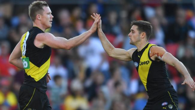 Jack Riewoldt celebrates one of his 10 goals with Jayden Short. Picture: AAP Images