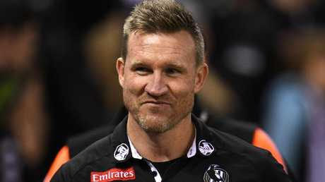 Nathan Buckley was a happy man after last night's win. Picture: AAP Images
