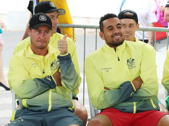 Lleyton Hewitt with singles players Alex de Minaur and Nick Kyrgios. Picture: Liam Kidston