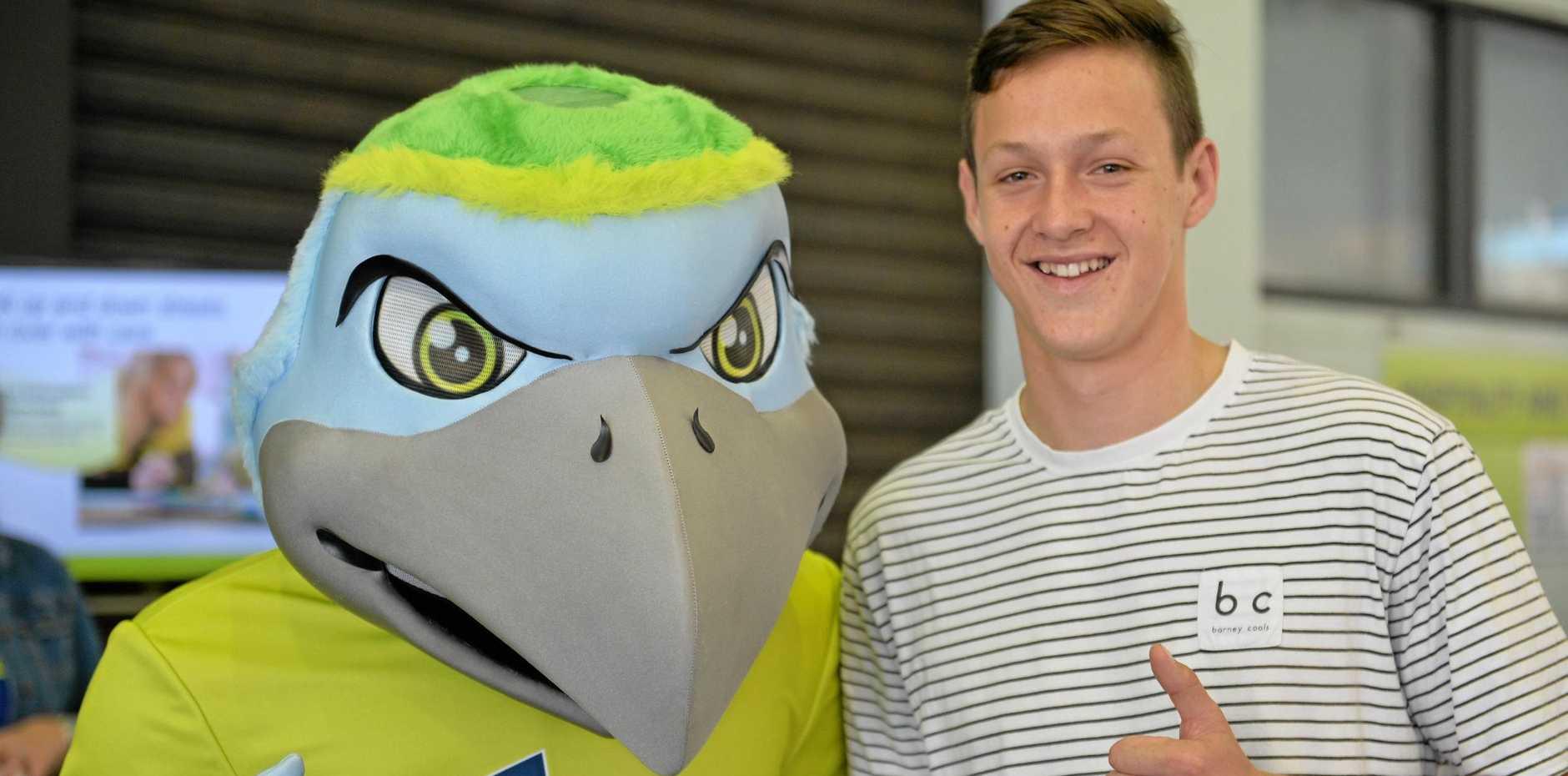 CQU Mascot Birdie McBird Face with Luke Webley