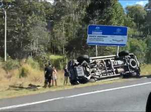 VIDEO: Large vehicle rolls over on Bruce Highway