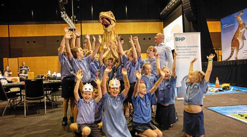 WOWED: Students from St Mary's Catholic Primary School were among a sizeable crowd checking out Unearthed at the Mackay Entertainment and Convention Centre.