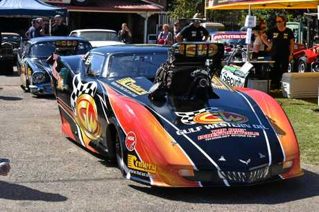 One of the dragsters at the fundraising event for Captain Cuso at Helltown Hot rods.