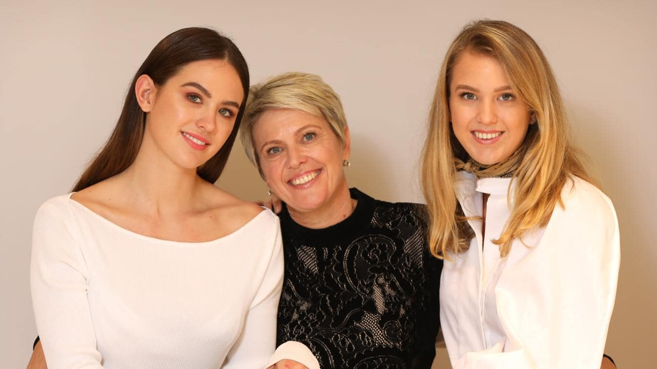 Jesinta Franklin at Mothers Day lunch with mum Valerie and sister Aleysha. Picture: Chris Pavlich