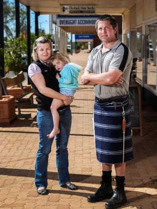 Butcher Cameron McConnell with his wife Gina and daughter Alexis, 3. Picture: Nigel Hallett