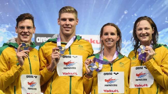 Mitch Larkin, Jake Packard, Emma McKeon and Cate Campbell won gold in 4x100m medley relay. Picture: AAP