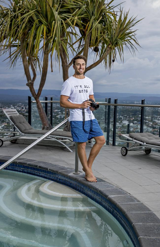 Tyson Mayr, 31, from the Gold Coast has been travelling the world since 2009 after he sold everything and walked away from the office cubicle life to find a life full of adventure & new experiences around the world, while trying to make a difference in the process. Tyson at the Waves pool deck in Broadbeach. Picture: Jerad Williams