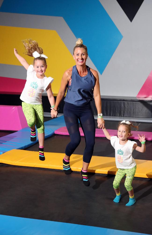 Kimberley Welman — Stay Strong Mummy. Author and blogger about parenthood with her kids Indi Welman (4) and Eve Welman (6) at Bounce Burleigh Heads. Photo by Richard Gosling