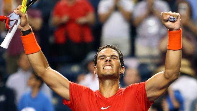 Rafael Nadal celebrates his victory over Karen Khachanov.