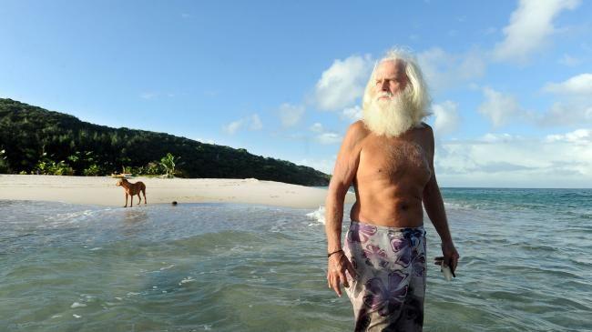 Island castaway David Glasheen lives on remote Restoration Island off the coast of north Queensland near Lockhart River.