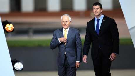 Corporal Roberts-Smith with Prime Minister Malcolm Turnbull at the 2016 Australian of Year Awards ceremony in Canberra. Picture: Gary Ramage