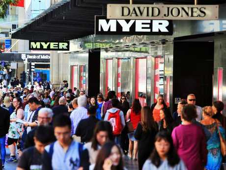 There are a lot of people wanting to shop in Bourke Street. But not many of them make it to the upper floors of the department stores. Picture: Aaron Francis/The Australian