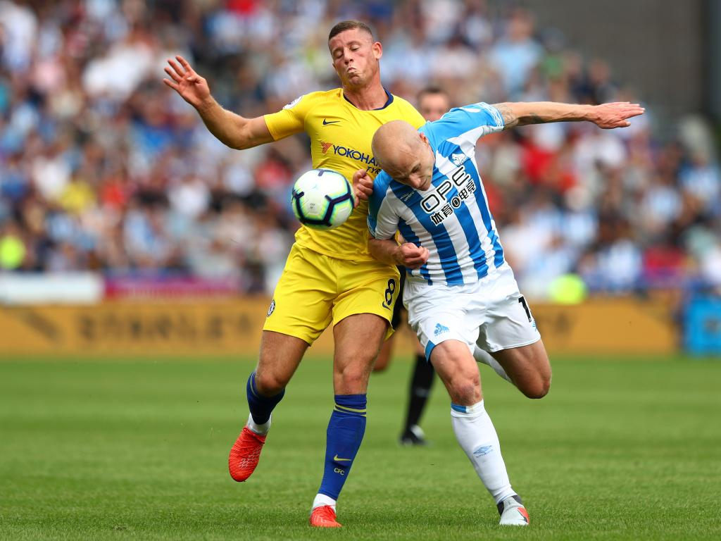 Ross Barkley of Chelsea is challenged by Aaron Mooy of Huddersfield Town. Picture: Getty Images