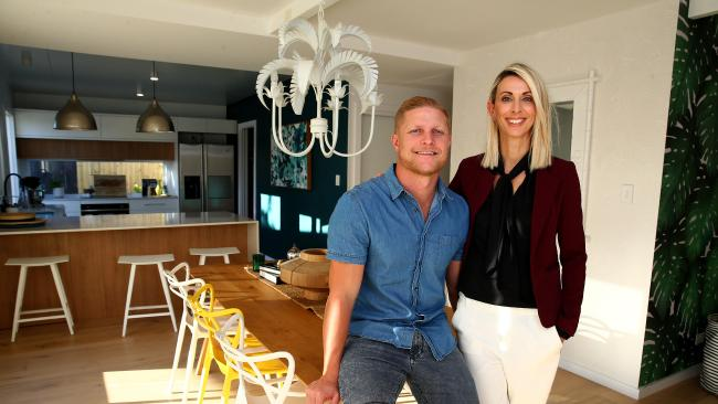 House Rules winners Aaron and Daniella Winter at their home in Broadbeach which was renovated on the show. Pics Adam Head