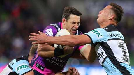 Storm fullback Billy Slater can't break through the Sharks defence. Picture: Getty Images