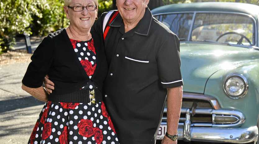 Luke and Narelle way are ready to dance up a storm at the car classic show and shine.