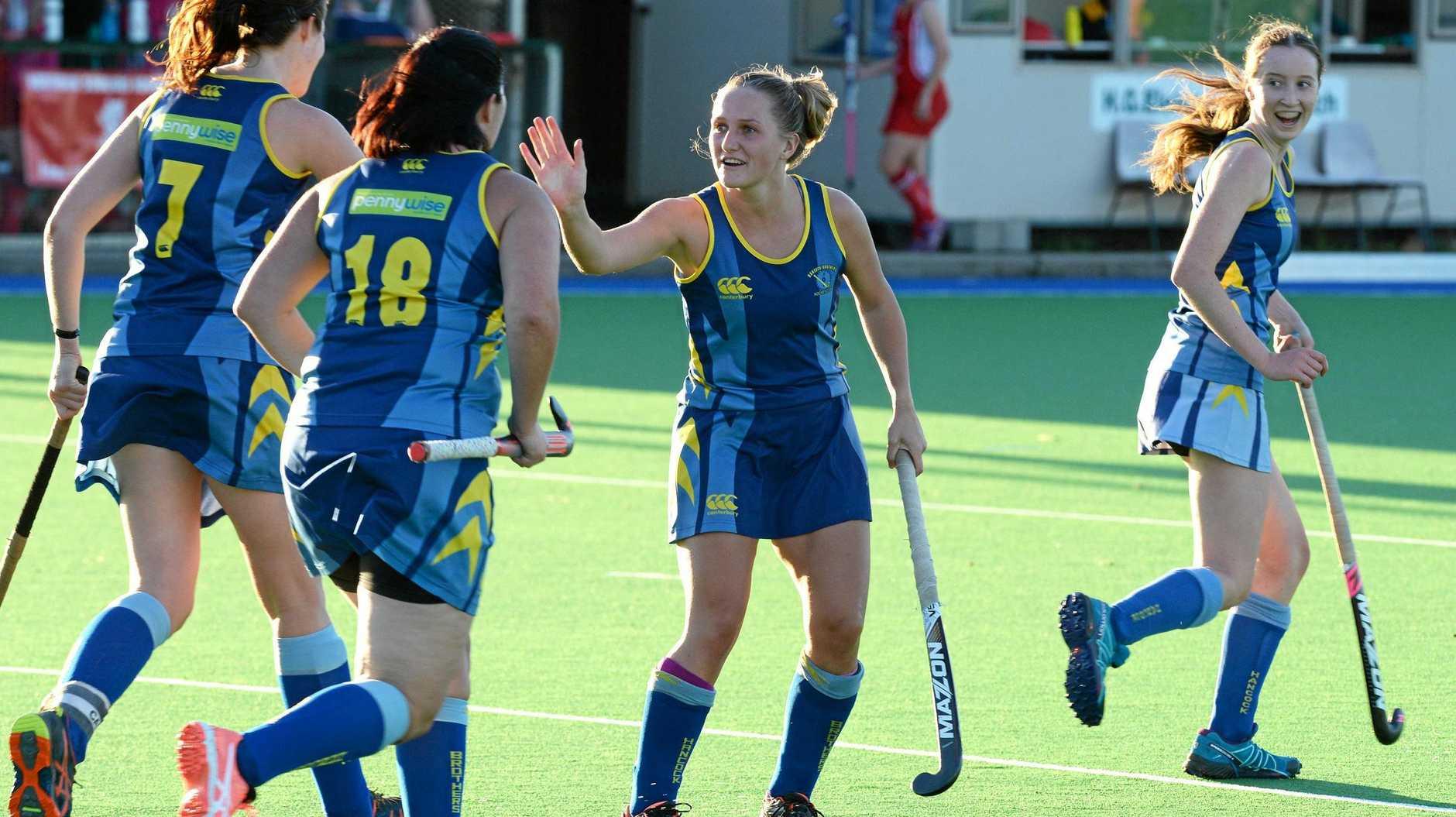 Hancocks goalscorer Robyn Clark celebrates with her teammates.