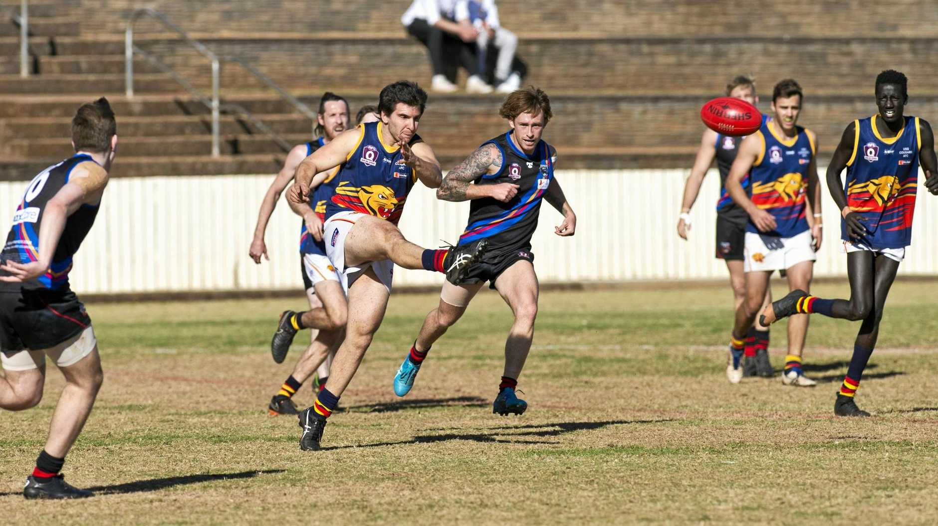 Ashley Harley for University Cougars against South Toowoomba Bombers in AFL Darling Downs round 15 at Heritage Oval, Saturday, August 11, 2018.