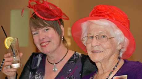 Kim Reeves and Shirley Peel caught up at the Red Hatters morning tea.