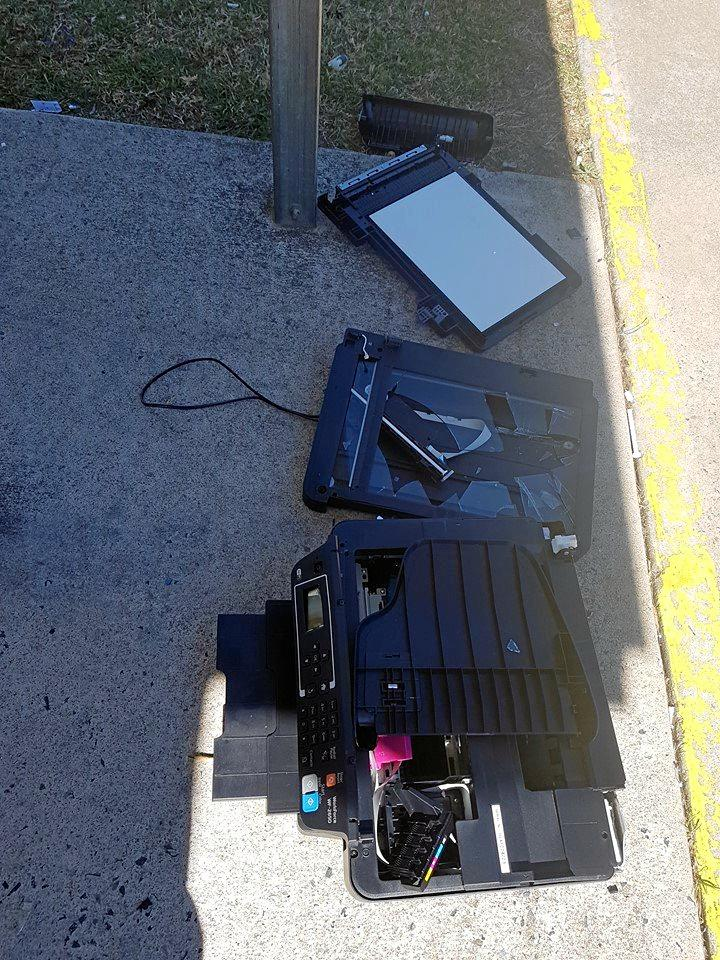 Colin Draper and his son found this vandalised printer at Butter Factory Park in Drayton St, Nanango this morning.