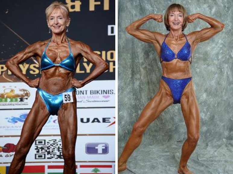 Janice Lorraine competing in the 2015 Dubai-INBA World Championships at 72, left, while at the 2004 Australian Championships at age 62.